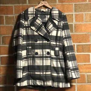 EUC Jou Jou Grey White Plaid Pea Coat